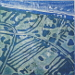 Marcelle Seabourne - Flooding at Sandilands blue green - unique etched lino print