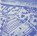 Marcelle Seabourne - Flooding at Sandilands blue - unique etched lino print